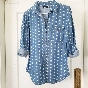 BDG Denim Polka-dot Shirt
